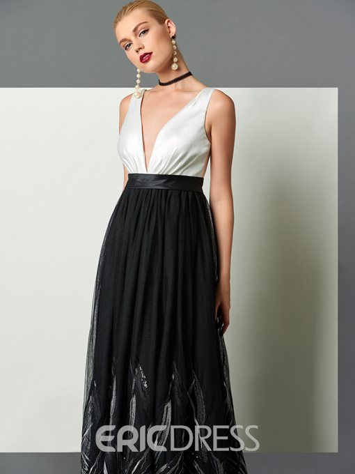Ericdress A-Line V-Neck Sashes Floor-Length Lace Evening Dress