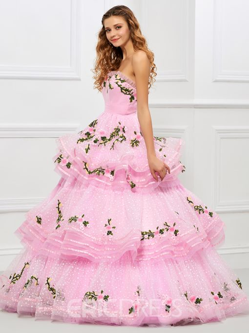 Ericdress Cute Sweetheart Layers Embroidery Ball Gown Quinceanera Dress