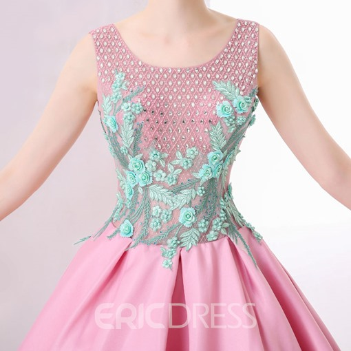 Ericdress Stunning Sleeveless Flower Applique Beaded Ball Quinceanera Gown