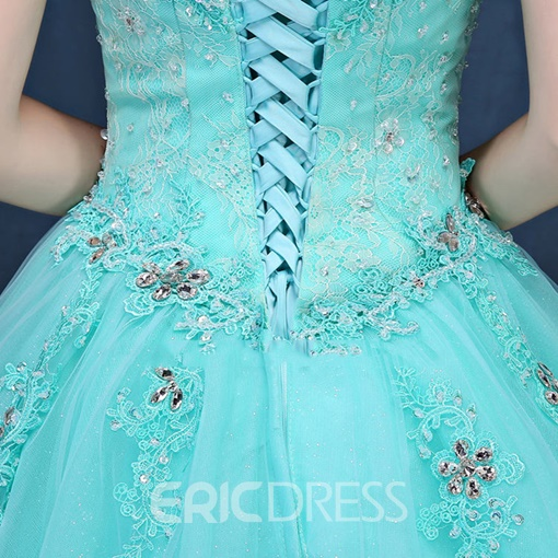 Ericdress Off-the-Shoulder Beading Crystal Ball Gown Lace-Up Quinceanera Dress