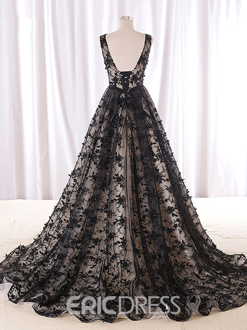 Ericdress A-Line Strapless Beading Lace Court Train Evening Dress