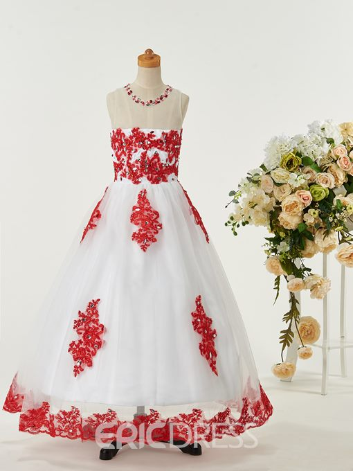 Ericdress Sweet Jewel Appliques Flower Girl Party Dress