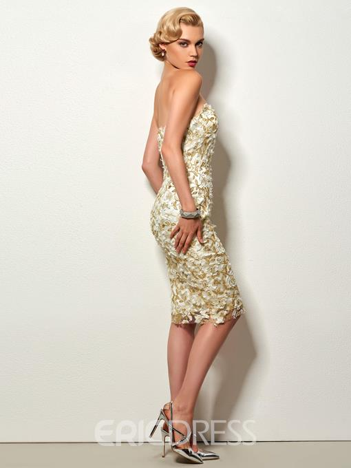 Ericdress Sheath Strapless Lace Knee Length Cockail Party Dress