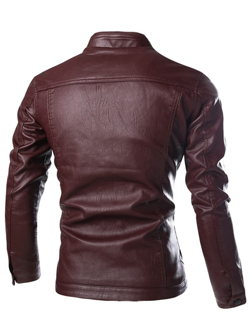 Ericdress PU Stand Collar Slim Men's Jacket