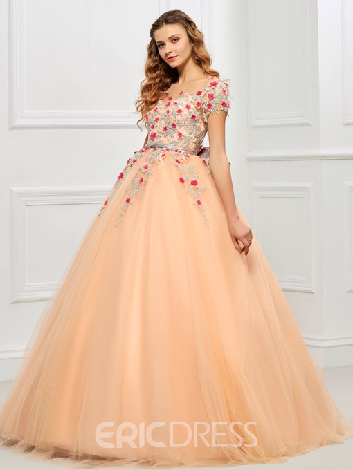 Ericdress Short Sleeves Appliques Bowknot Sashes Ball Quinceanera Dress
