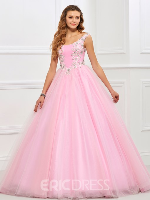 Ericdres Straps Appliques Beading Ball Gown Quinceanera Gown