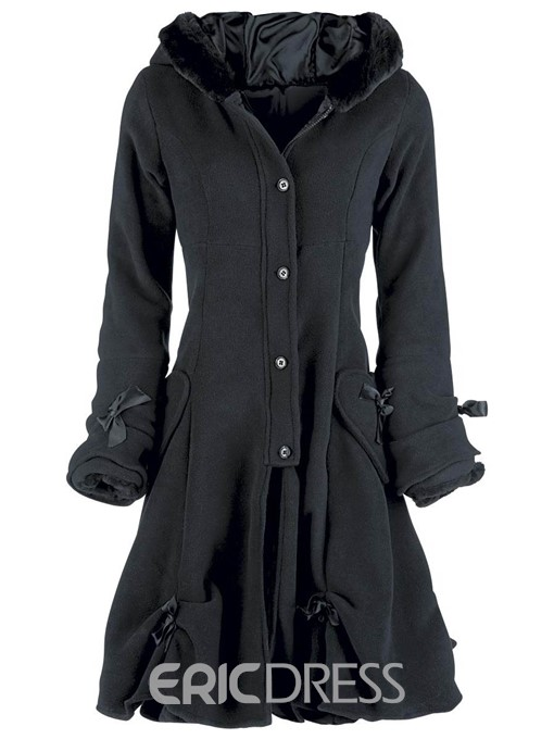 Ericdress Single-Breasted Bowknot Pocket A Line Hooded Overcoat
