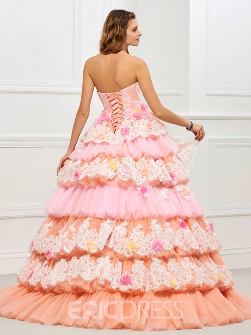 Ericdress Princess Strapless Lace Layers Lace Up Back Ball Quinceanera Gown