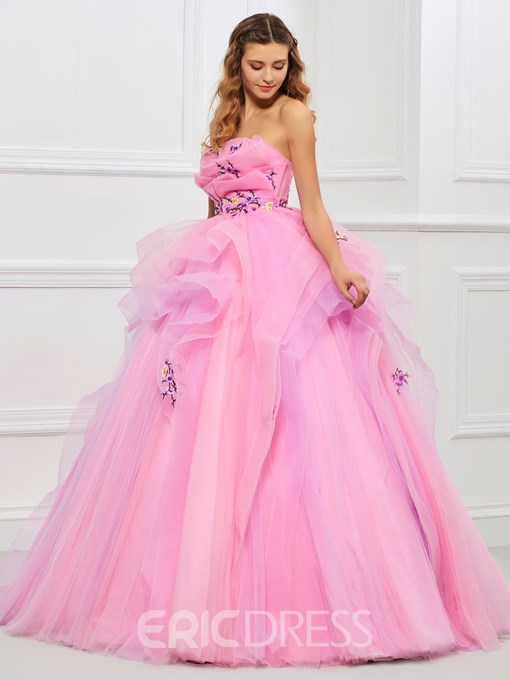 Ericdress Strapless Ball Gown Embroidery Pleats Floor-Length Quinceanera Dress