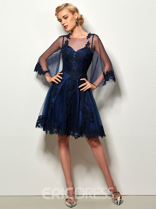 Ericdress A-Line 3/4 Length Sleeves Appliques Lace Knee-Length Cocktail Dress