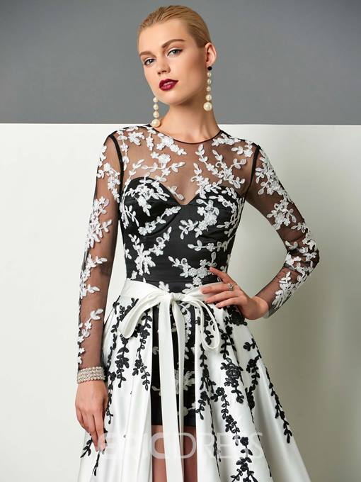 Ericdress Long Sleeve Appliques Evening Dress With Train