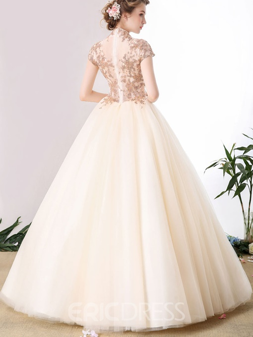 Ericdress VIntage High Neck Cap Sleeve Applique Lace Ball Quinceanera Gown
