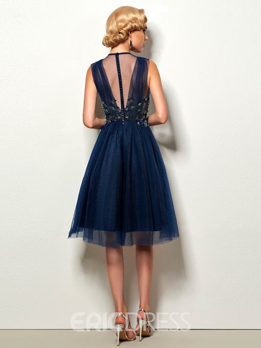 Ericdress Scoop Neck Applique Tulle Short A Line Cocktail Dress