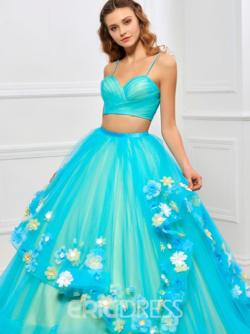 Ericdress Spaghetti Straps Two Pieces Flowers Quinceanera Dress