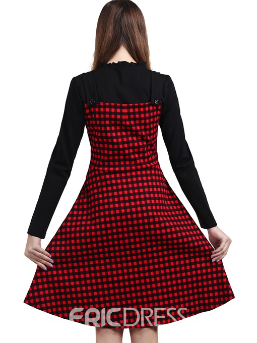 Ericdress Patchwork Plaid Pleated Casual Dress