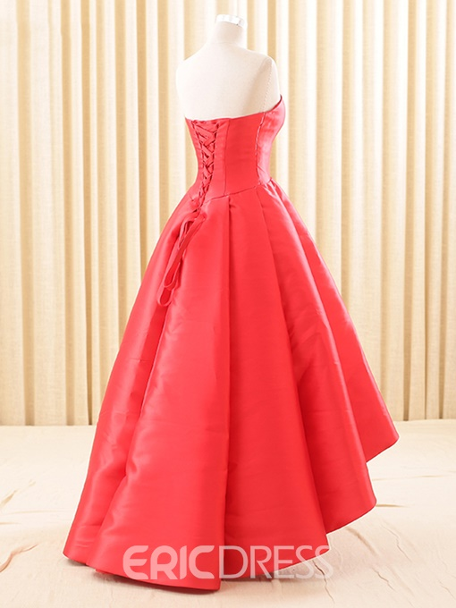Ericdress HIgh Low A-Line Sweetheart Pleats Asymmetry Evening Dress
