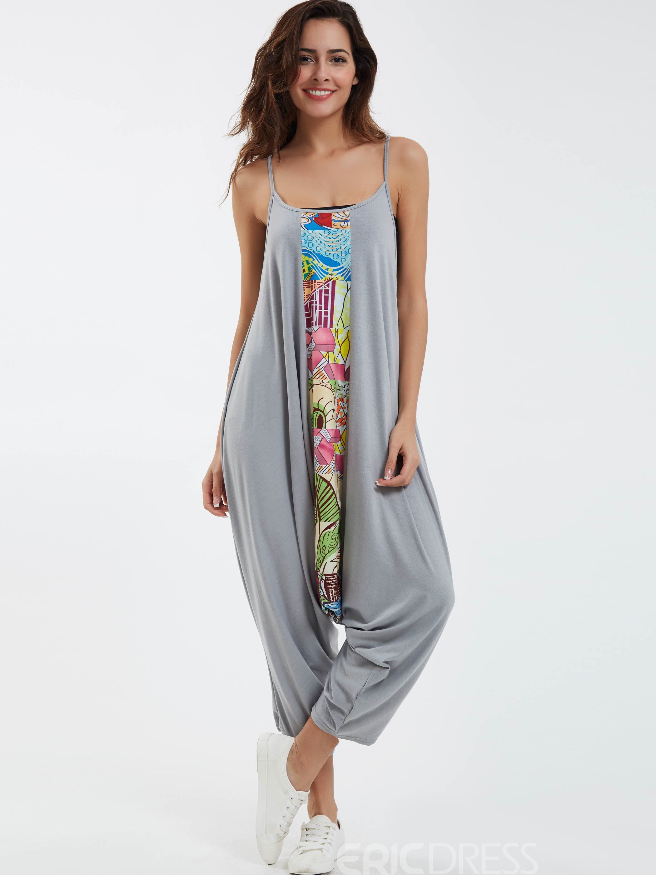 Ericdress Loose Print Spaghetti Straps Jumpsuits Pants