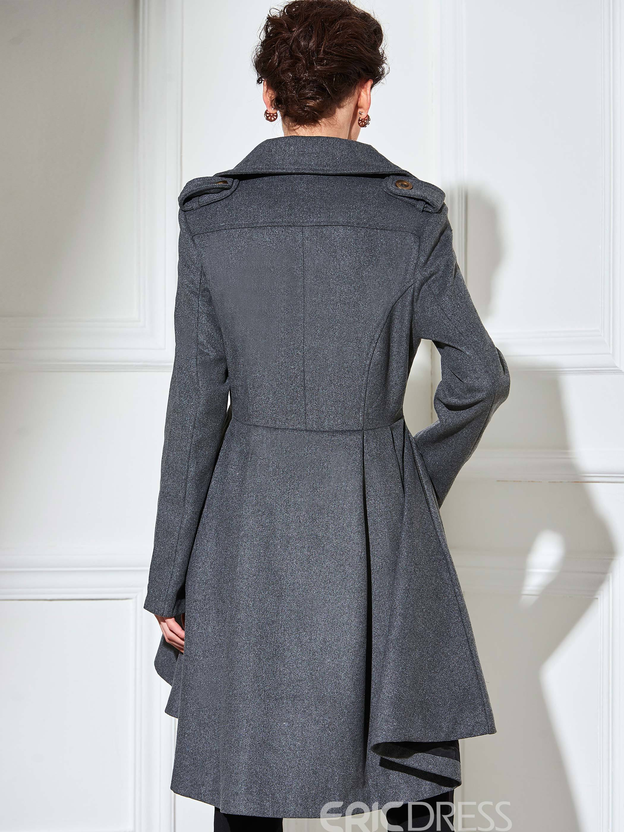 Ericdress Slim Solid Color Wave Cut Lady Coat