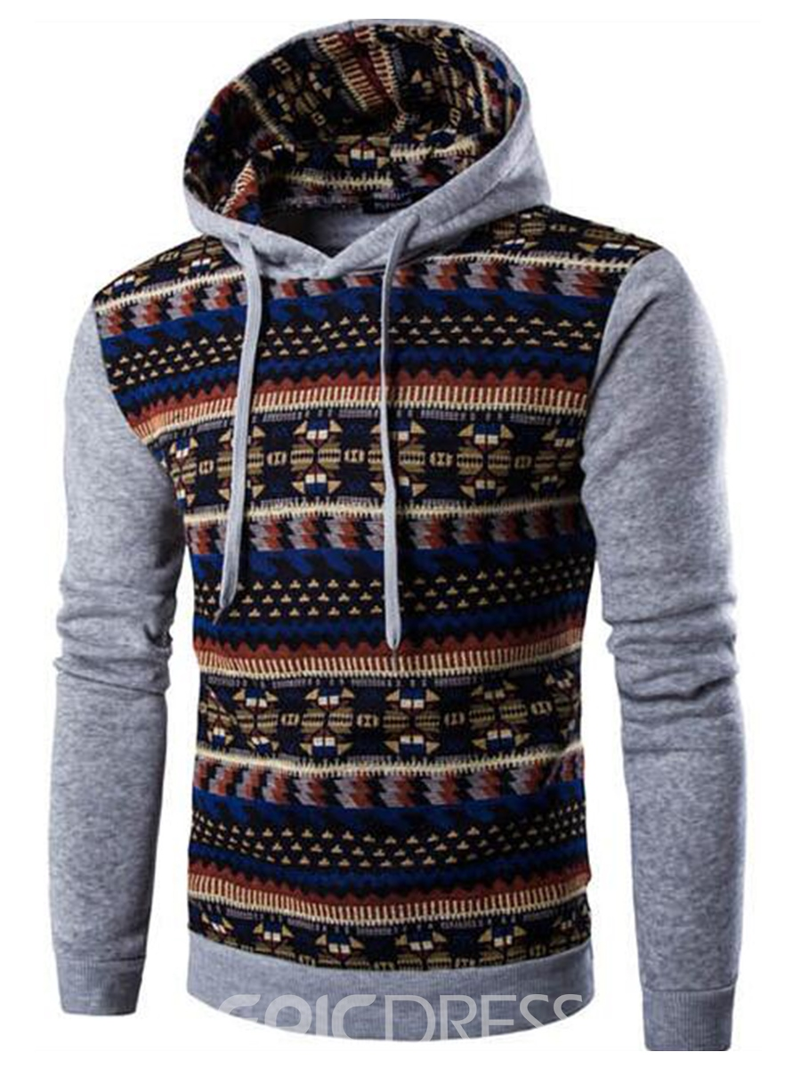 Ericdress Ethnic Style Patchwork Pullover Casual Men's Hoodie