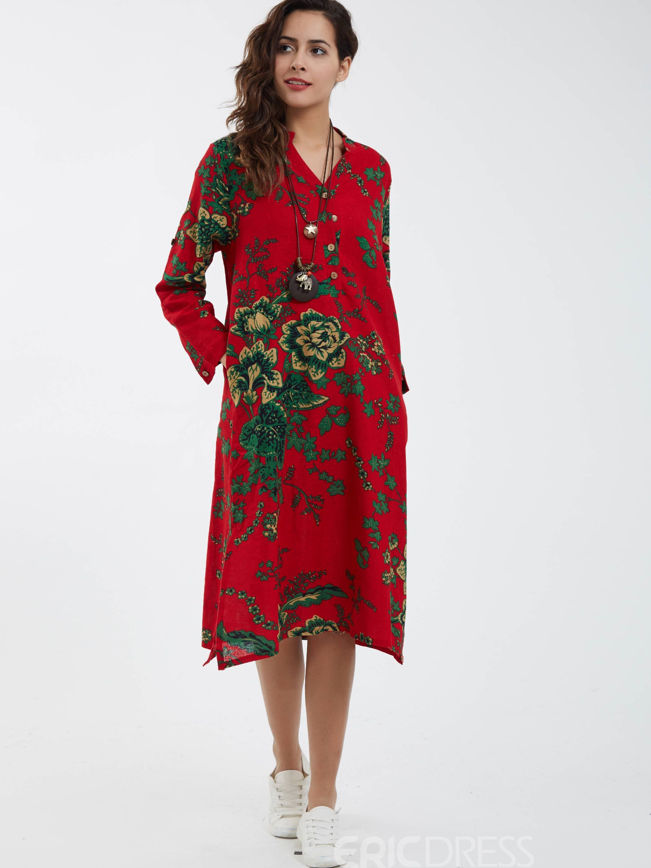 Ericdress Button V-Neck Flower Printed Casual Dress