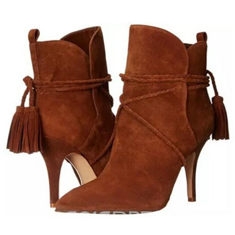 Ericdress Pointed Toe Tassels High Heel Boots