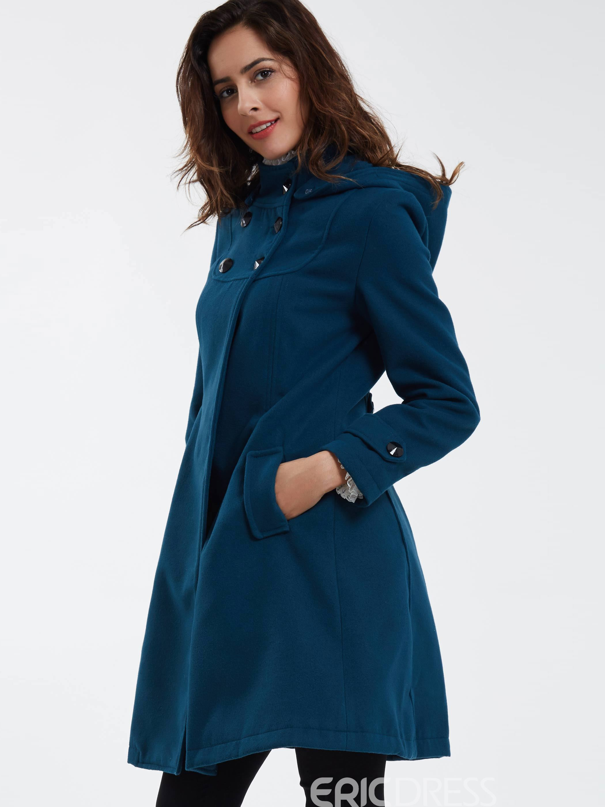 Ericdress Elegant Double-Breasted Hooded Coat