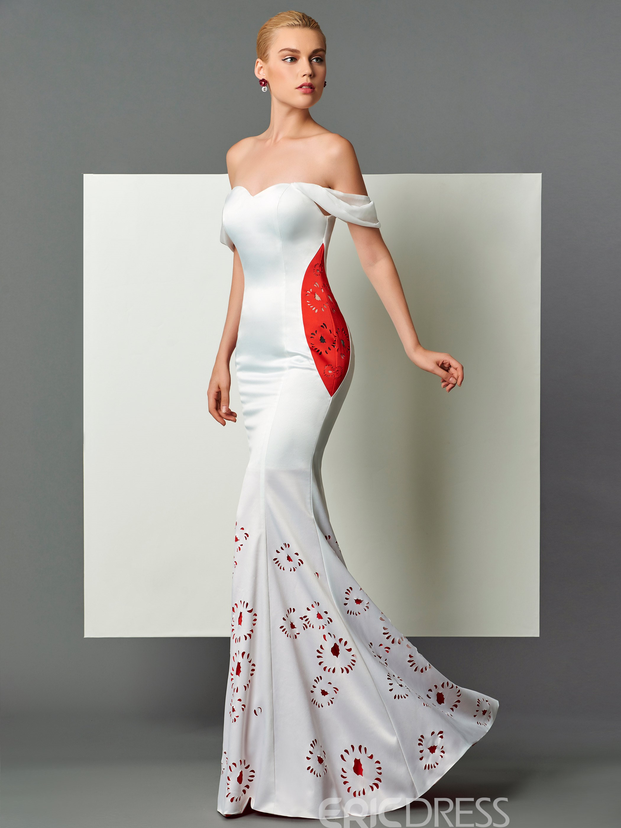 Ericdress Unique Mermaid Off-the-Shoulder Hollow Floor-Length Evening Dress