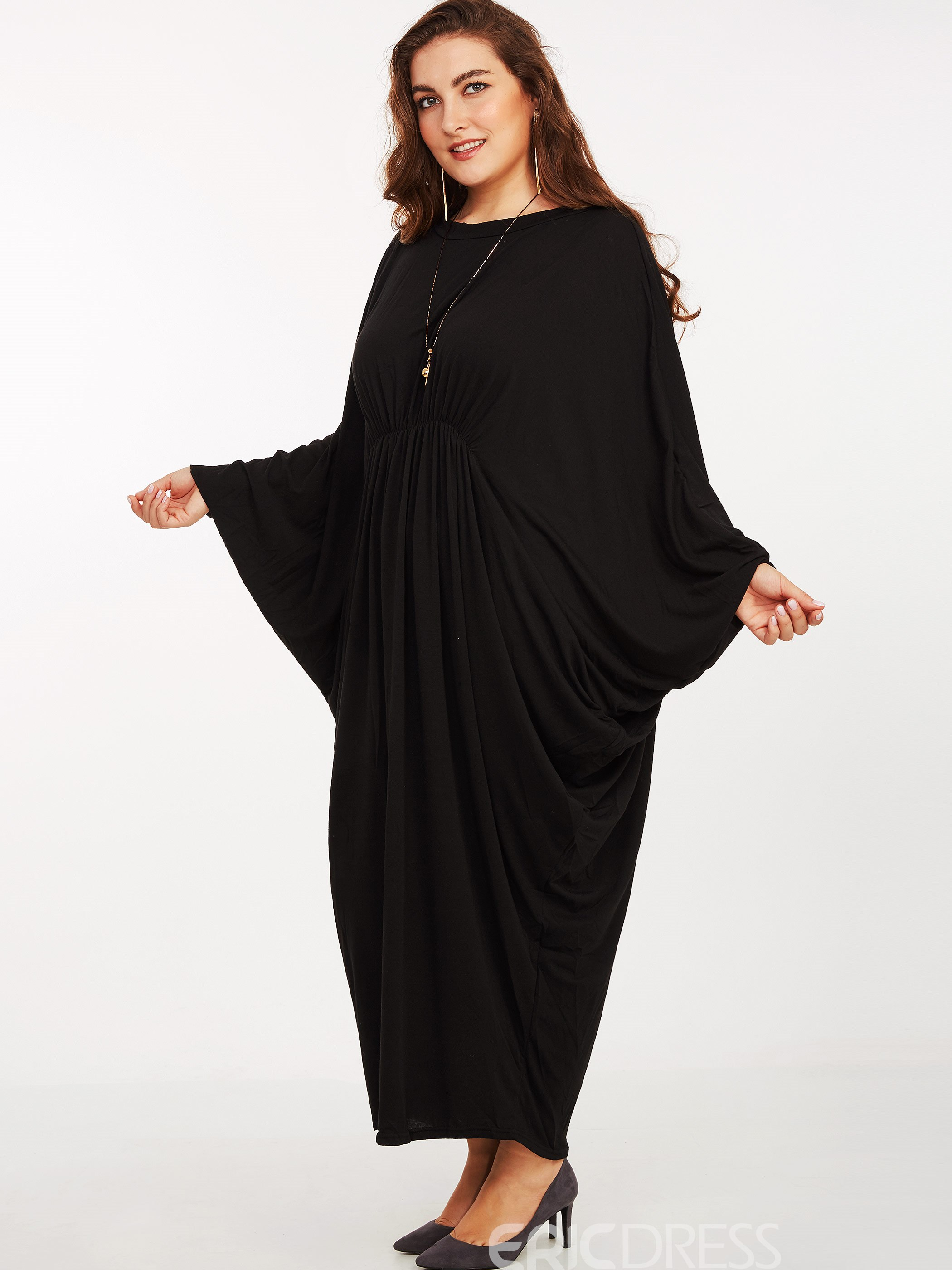 Ericdress Plus-Size Batwing Sleeve Patchwork Pleated Maxi Dress