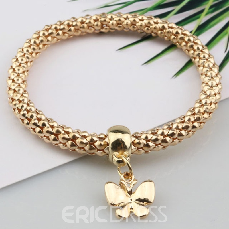 Ericdress Three Layers Butterfly Pendant Bracelet