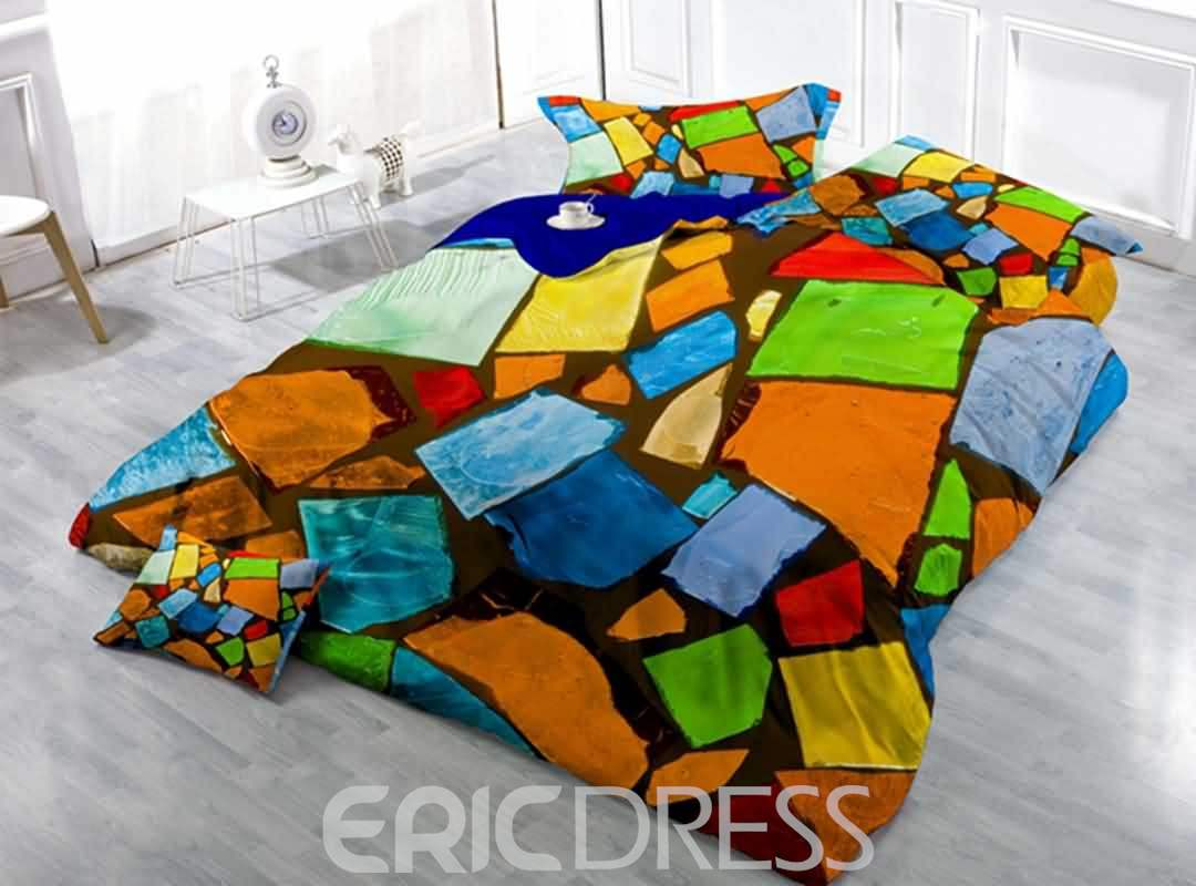 Fashionable Design Abstract Block Print Satin Drill 4-Piece Duvet Cover Sets