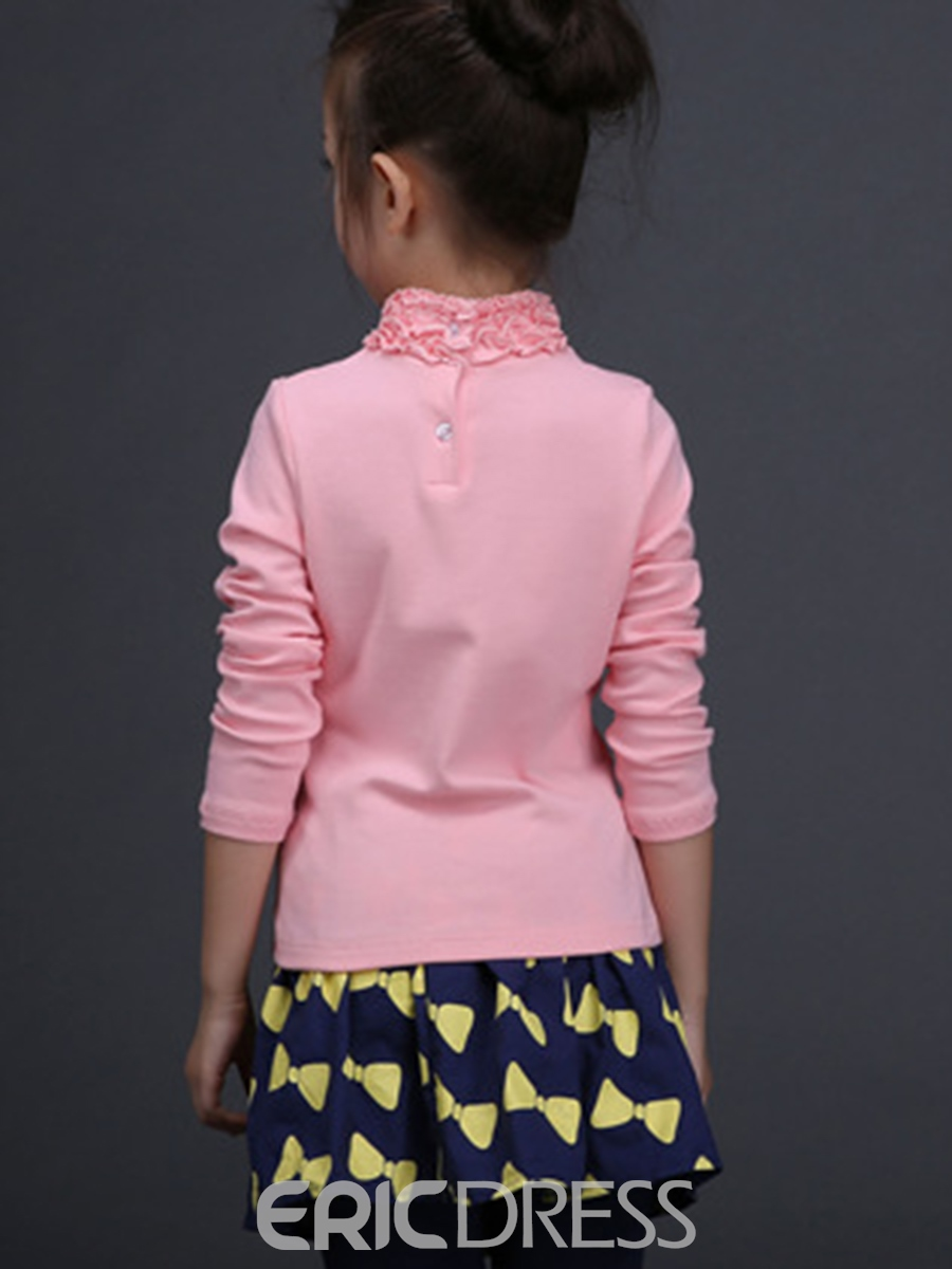 Ericdress Sweet Plain Floral High Neck Girls Long Sleeve