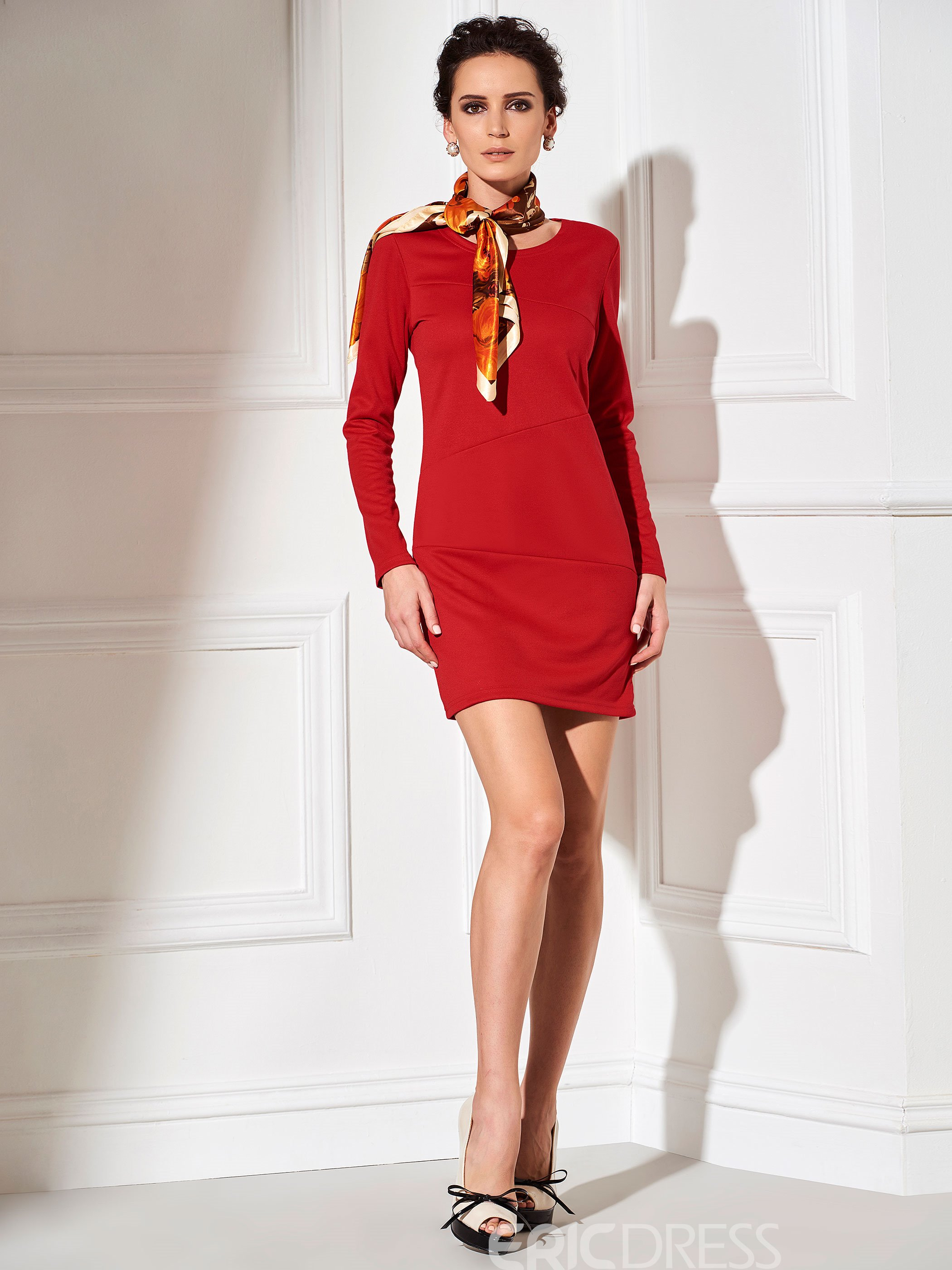 Ericdress Split Joint Long Sleeves Bodycon Dress