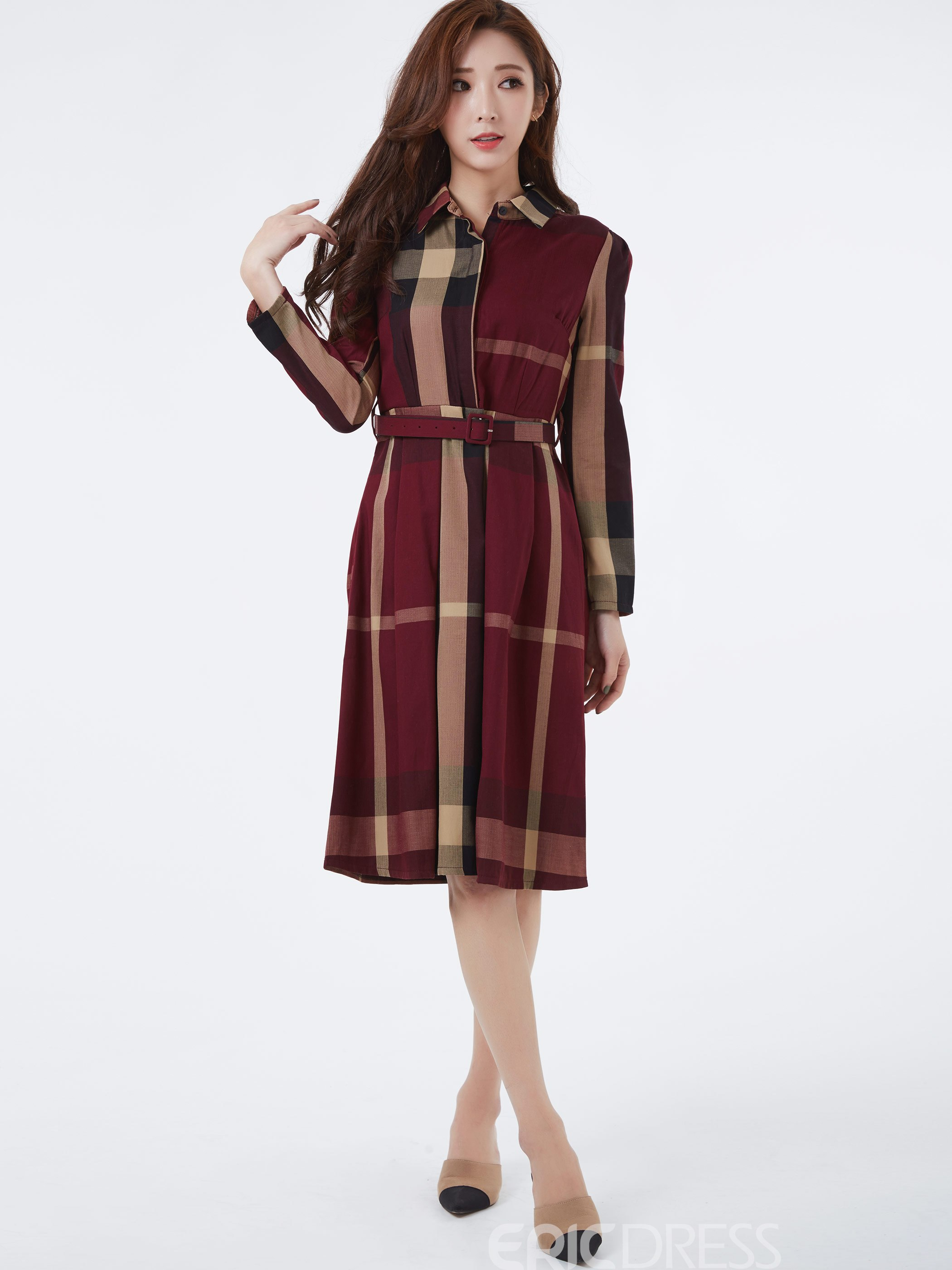 Ericdress Plaid ceinture revers simple boutonnage robe occasionnelle