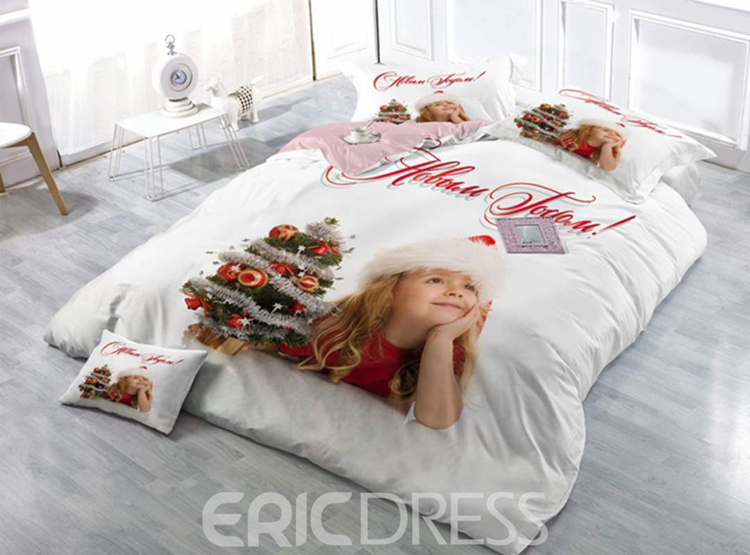Lovely Girl and Christmas Tree Print Satin Drill 4-Piece Duvet Cover Sets