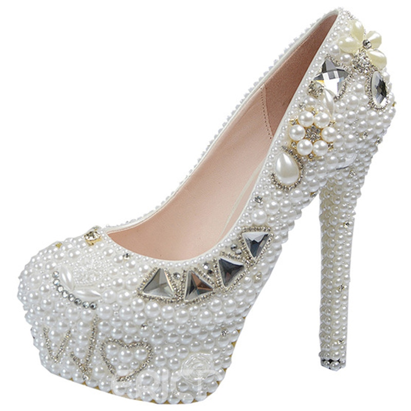 Ericdress Beads Decorated Platform Wedding Shoes