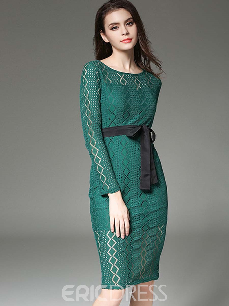 Ericdress Ladylike See-Through Lace-Up Split Patchwork Lace Dress