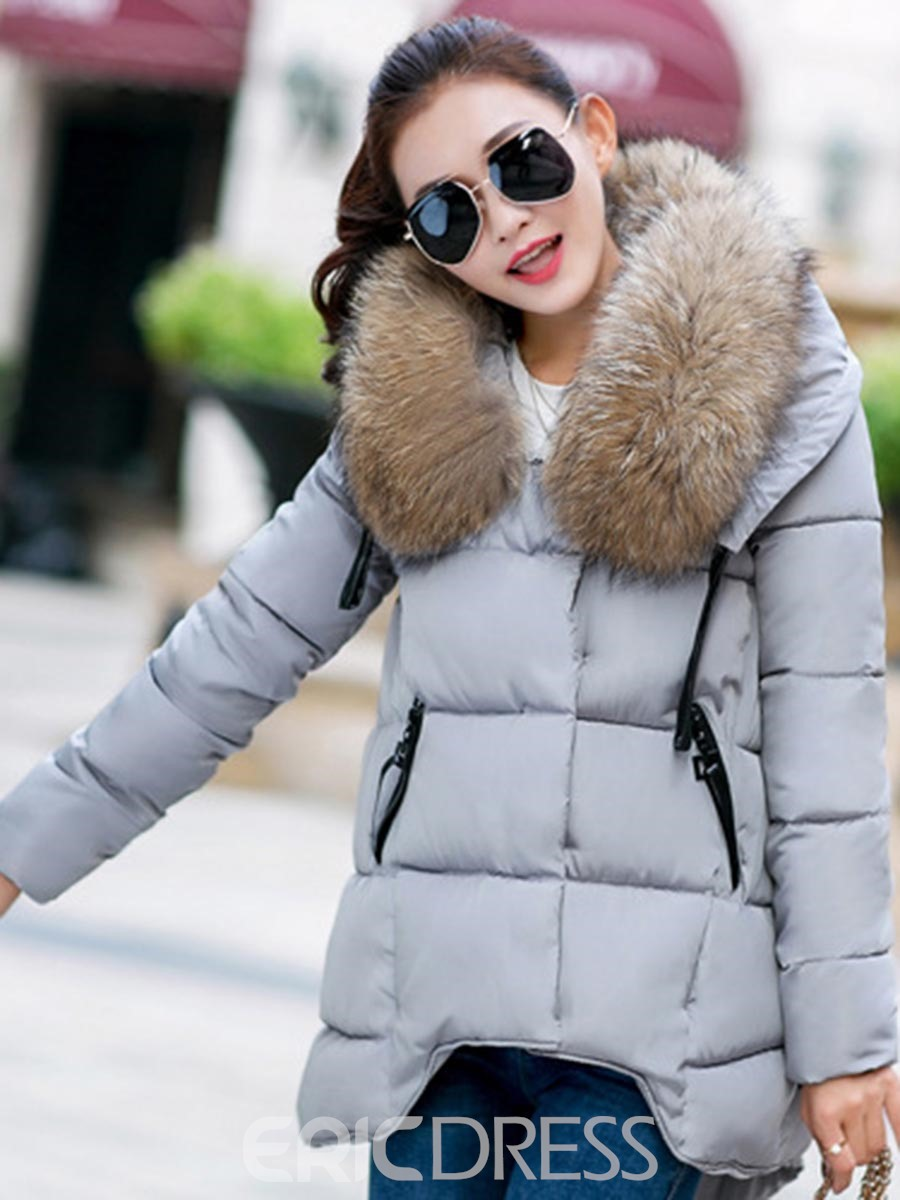 Ericdress Faux Fur Collar Loose Cotton Coat