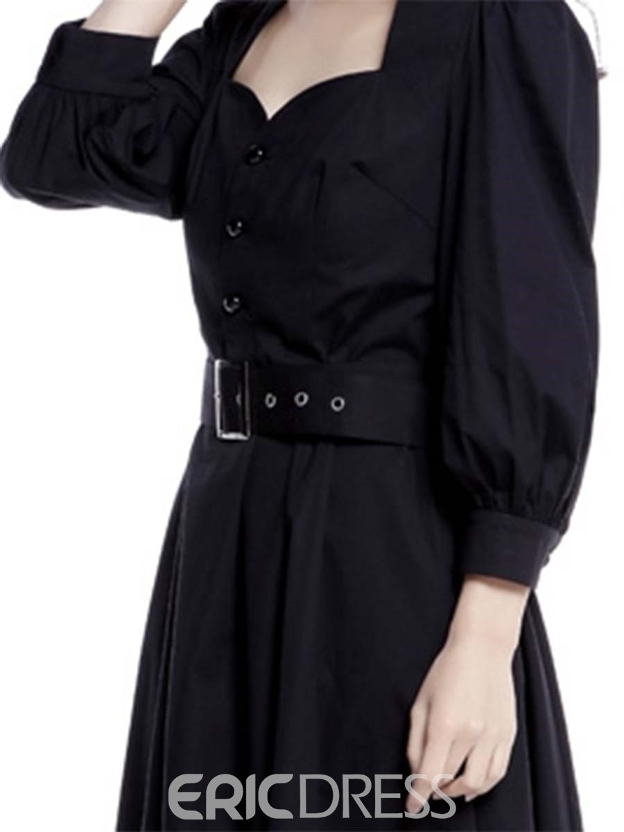 Ericdress Square Neck Button Belt Lantern Sleeve Pleated Casual Dress