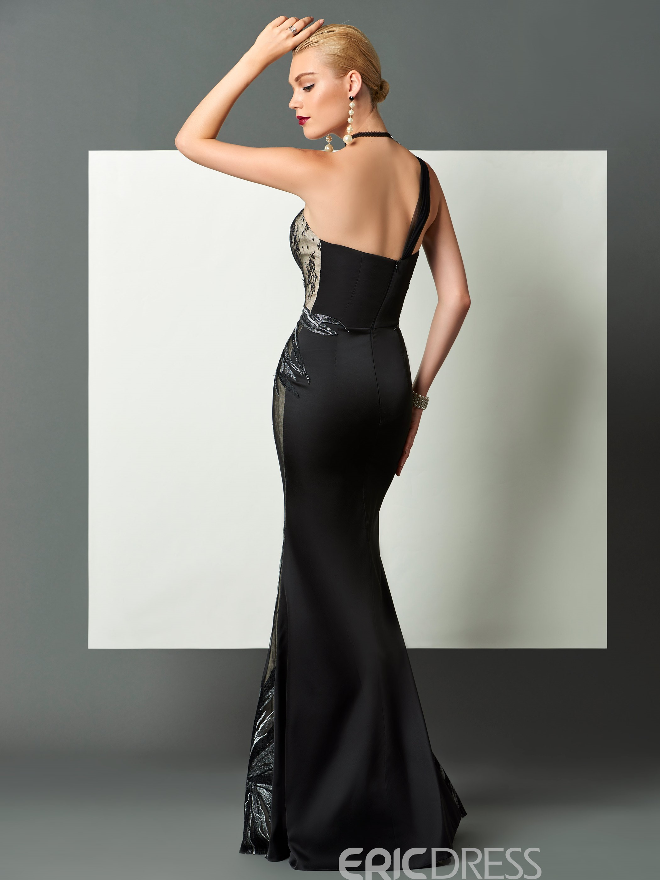 Ericdress Sheath One Shoulder Satin Floor Length Evening Dress