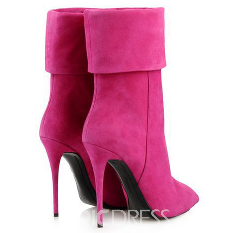 Ericdress Pink Pointed Toe High Heel Boots