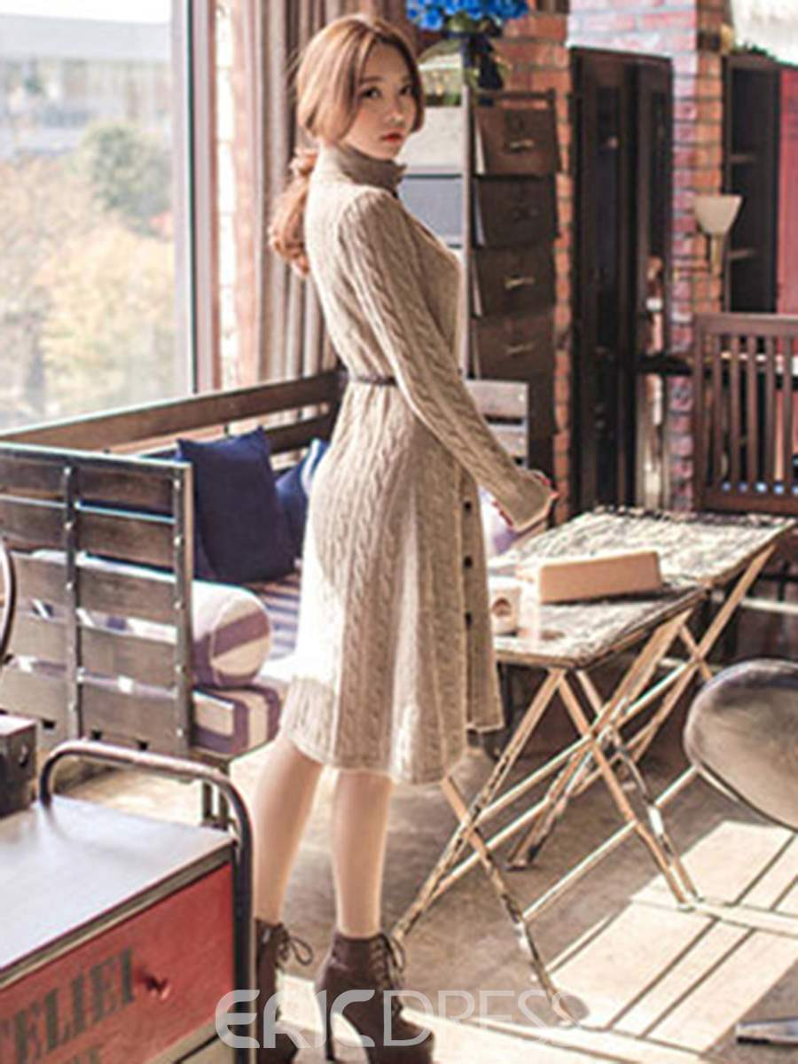 Ericdress High Neck Single-Breasted Plain Sweater Dress