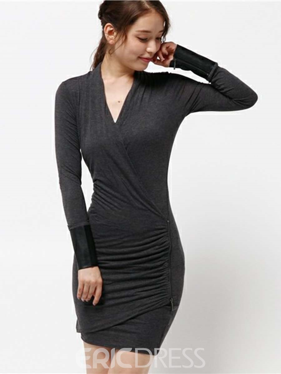 Ericdress Simple V-Neck Pullover Bodycon Dress