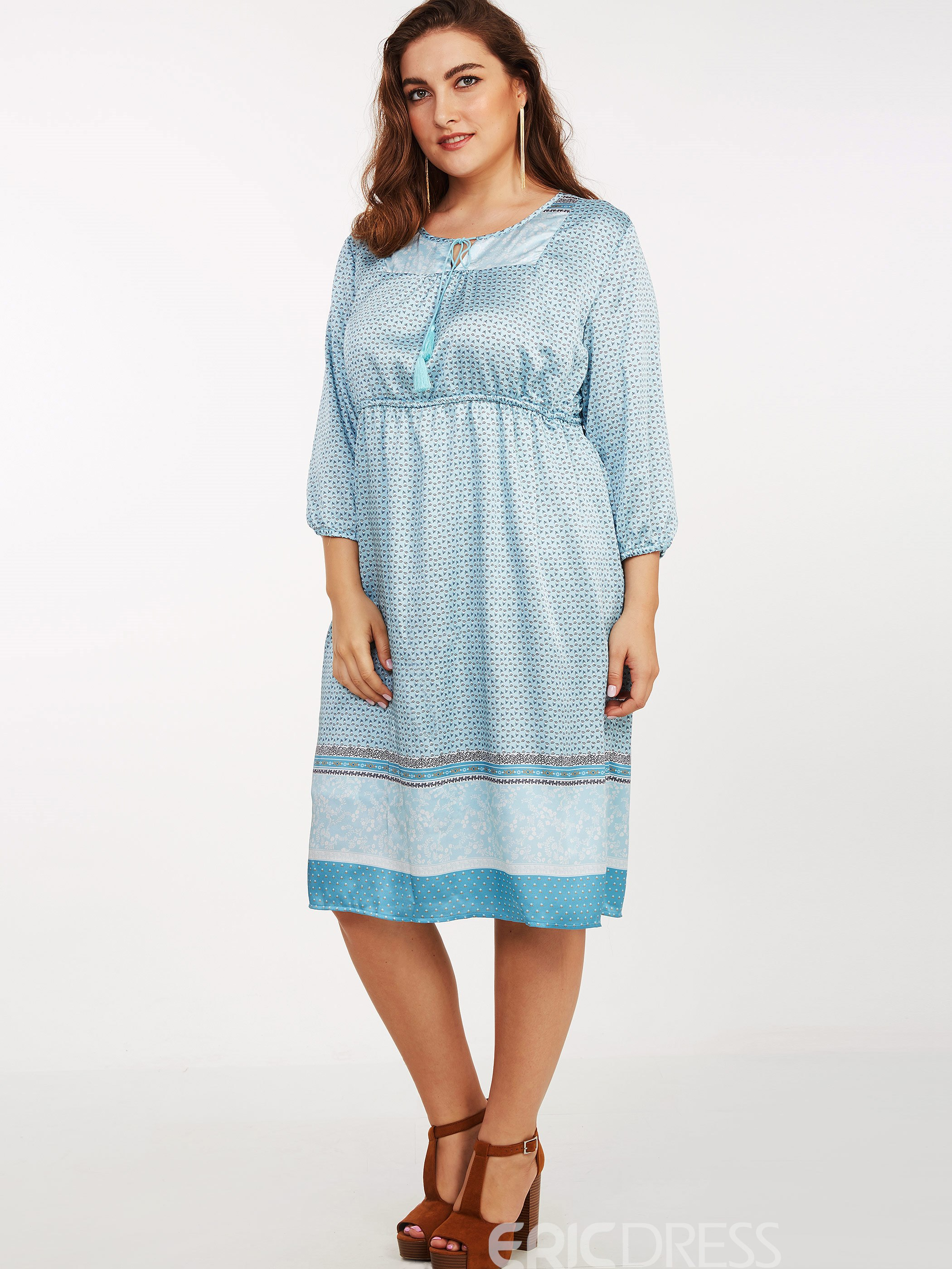 Ericdress Plus-Size Bohemian Lace-Up High-Waist Casual Dress