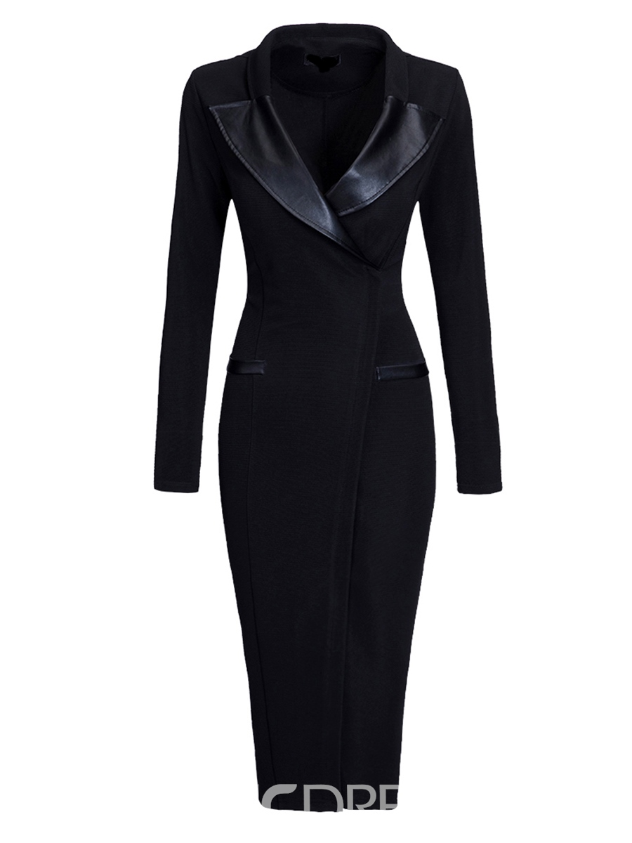 Ericdress Solid Color Lapel OL Sheath Dress