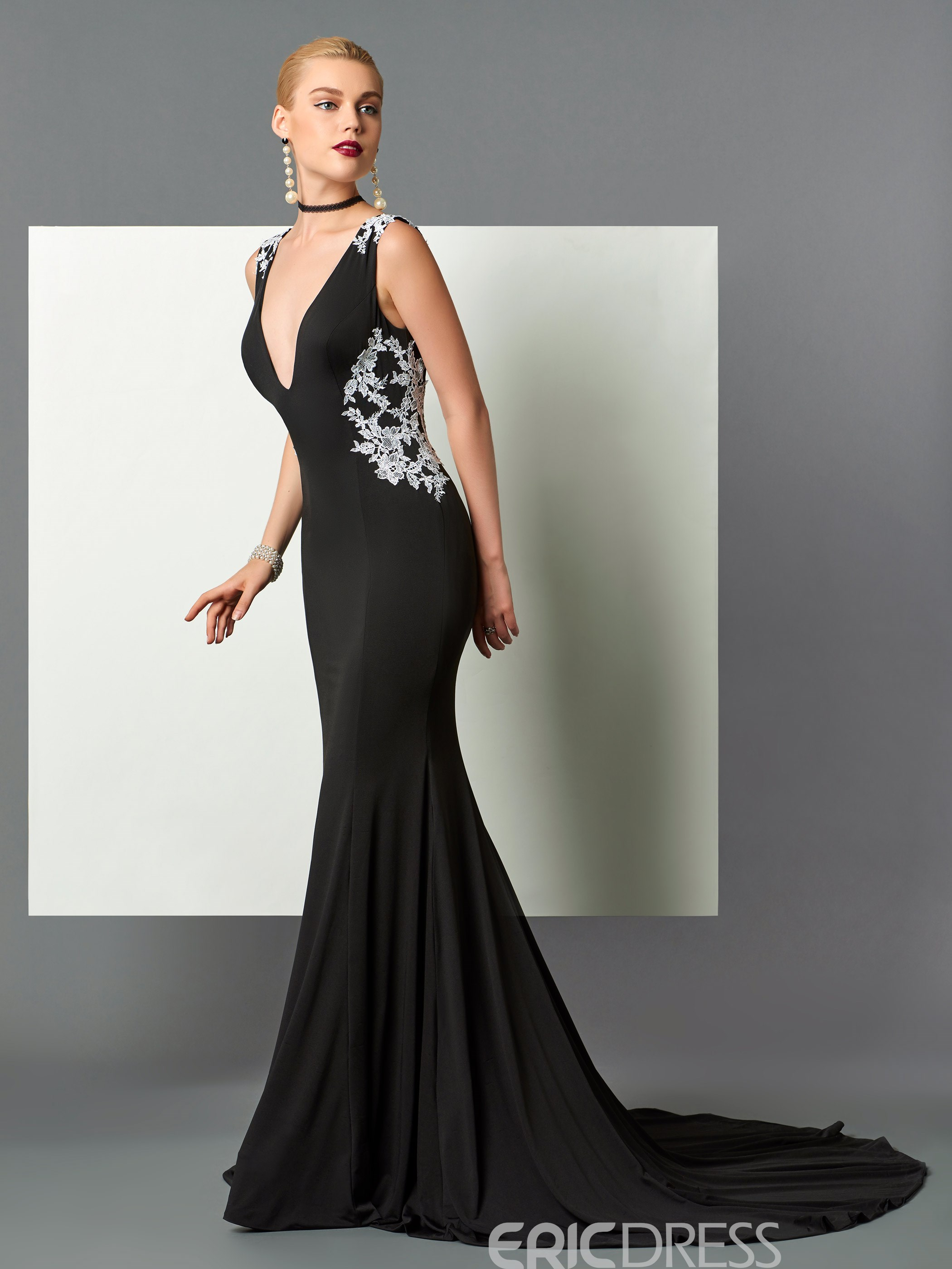 Ericdress Sexy V-Neck Mermaid Backless Evening Dress With Court Train