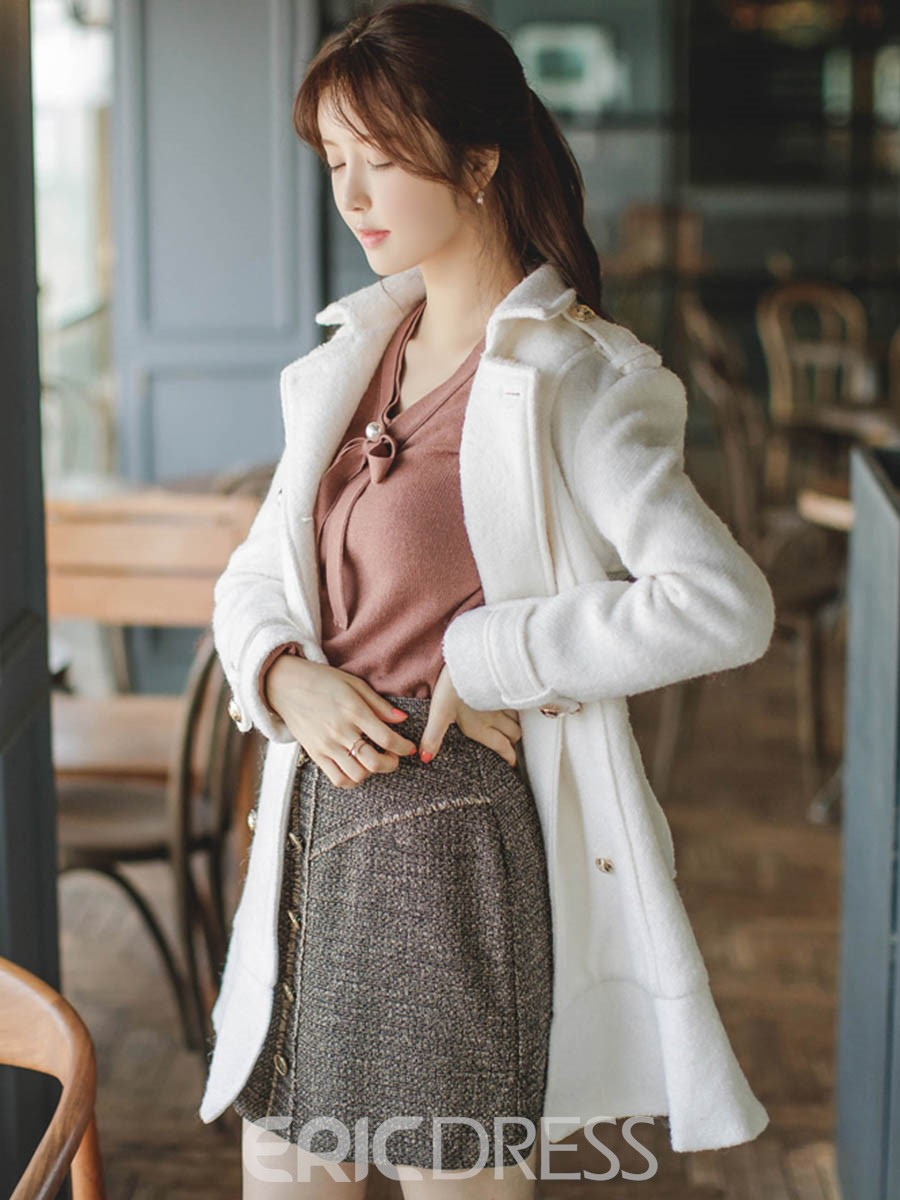 Ericdress Solid Color Double-Breasted Lady Coat