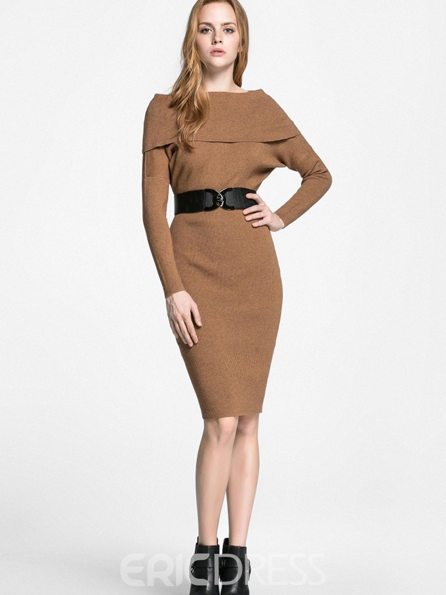 Ericdress Belt Patchwork Falbala Knee-Length Sheath Dress