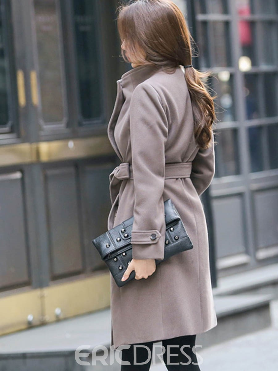 Ericdress Solid Color Slim Lace-Up Lady Coat