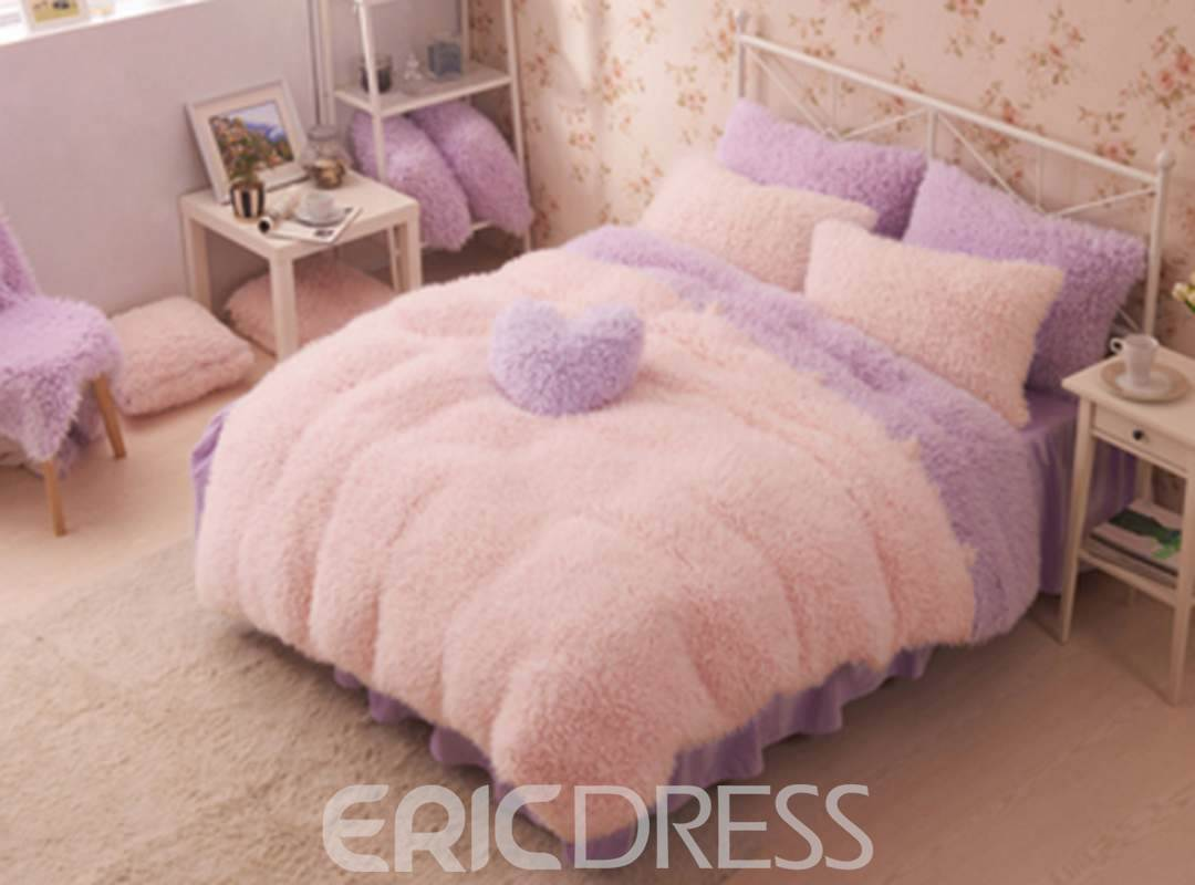 Vivilinen Pretty Soft Princess Style Purple Girls 4-Piece Bedding Set/Duvet Cover