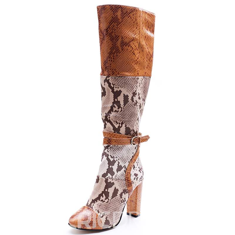 Ericdress Snake Patchwork Leather Thigh High Boots